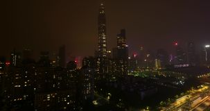 Night city Shenzhen China. Night Shenzhen time lapse China stock video