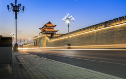 Night wall. Shot in China the Inner Mongolia Autonomous Region banner of Alashan Royalty Free Stock Photography
