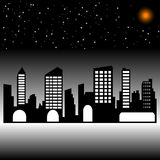 Night city. silhouette Royalty Free Stock Photography