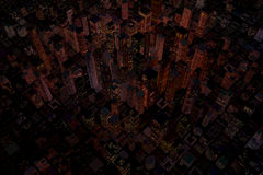 Night in city with skycrapers vector illustration