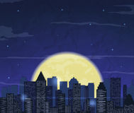 Night city skyline. Abstract background. Modern night city landscape. Vector Stock Image