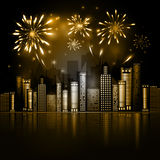 Night City Skyline with Fireworks. Night City Skyline, dark background with firework show. Vector Holiday Cityscape Background. Festive, bright firework for Stock Images
