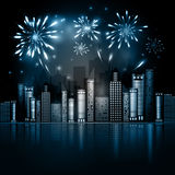 Night City Skyline with Fireworks. Night City Skyline, dark background with firework show. Vector Holiday Cityscape Background. Festive, bright firework for Stock Image