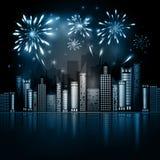 Night City Skyline with Fireworks Stock Image