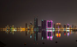 Night city skyline. Manama, the Capital of Bahrain Royalty Free Stock Images