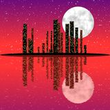 Night city skyline. City skyline at night with moon and with reflection in the water Royalty Free Stock Image