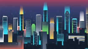Night city skyline with neon lights. Modern city. Vector Royalty Free Stock Photo