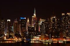 Night city skyline. New York skyline, late night Royalty Free Stock Photography