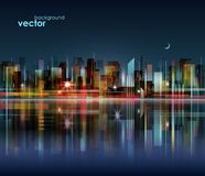 Night city skyline with reflection on water surface,  illustration. Modern night city skyline, with reflection on water surface,  cityscape Stock Image