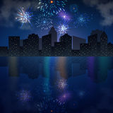 Night city skyline with river and fireworks. Vector holiday festive background Stock Image