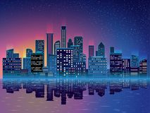 Night city with skyscrapers background. Vector illustration Royalty Free Stock Photos