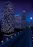 Night city with skyscrapes in perspective near the highway and moon in dark blue sky. vector illustration