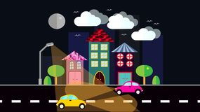 A night city, a small town in flat style with houses with a sloping tile roof, cars with lights, trees, birds, clouds, moon, road,. Glowing lantern on a dark Stock Image