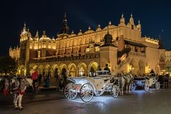 Night city square in Krakow. Long exposure night view of the market square in the center of the old town of Krakow, Poland Royalty Free Stock Photo
