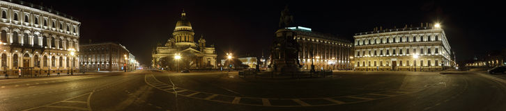 Night city St. Petersburg. Stitched Panorama night St. Petersburg Stock Photo