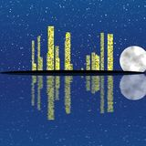 Night city with stars and moon. Night image of the city by moonlight Royalty Free Stock Photos