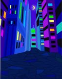 Night city street with bright lights. Moon in the sky. Vector illustration. Night city street with bright lights. Moon in the blue sky. Vector illustration Royalty Free Stock Image
