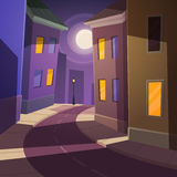 Night city street. Cartoon illustration of the road across the street at night time Stock Images
