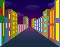 Night city street. With neon lightened windows Stock Photo