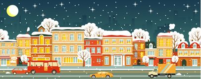 Night city street seamless winter background in royalty free illustration
