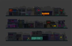 Night city street. Set of architecture buildings. Flat vector graphics. A lot of buildings cafes, lanterns and various Royalty Free Stock Photography