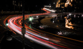 Night city street view with light trails. It is a picture showing amazing night city street view with light trails Stock Image