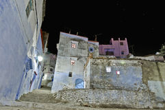 Night on city streets of Chefchaouen, Morocco Stock Image