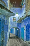 Night on city streets of Chefchaouen, Morocco Royalty Free Stock Images