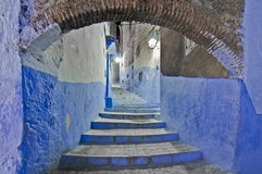 Night on city streets of Chefchaouen, Morocco Royalty Free Stock Photo