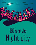 Night city in the style of 80's. City landscape. Space for text. Royalty Free Stock Photo
