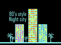 Night city in the style of the 80s. Houses with palm trees poster. Vector Stock Photos