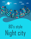 Night city in the style of 80's. Space for text. Vector illustration Royalty Free Stock Photo
