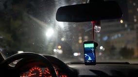 Night city taxi car. Night city traffic inside taxi car stock footage