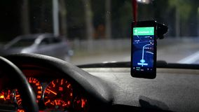Night city taxi car. Night city traffic inside taxi car stock video