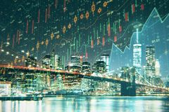 Night city texture with forex chart. Creative night city texture with candlestick forex chart. Economy and analysis concept. 3D Rendering stock photography