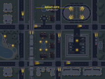 Night City Top View. Top view poster of night city with usual elements like roads buildings parking and other flat vector illustration Stock Photos