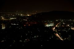 Night city top view trails long exposure royalty free stock image