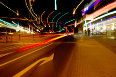 Night city traffic lights Stock Images