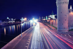 Night city traffic Royalty Free Stock Image