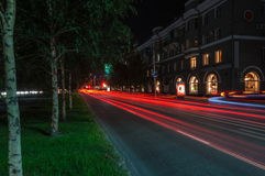 Night city traffic lights stock photo