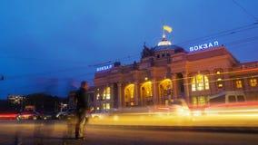 Night city traffic timelapse near Main railway terminal in Odessa, Ukraine. Night city traffic timelapse near Main railway terminal in Odessa, Ukraine, Full HD stock footage