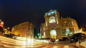 Night city traffic timelapse near Opera House in Odessa, Ukraine. Full HD stock video footage