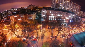 Night city traffic timelapse with zoom. Full HD stock video footage