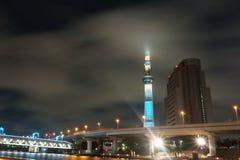 Night city. TV tower. Tokyo Skytree. night sky. bridge with nigh stock images