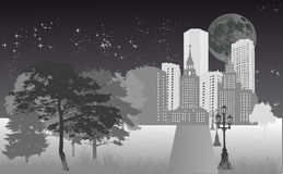 Night city under bright moon Royalty Free Stock Photo