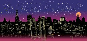 Night city under star sky Stock Image