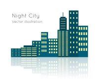 Night City Vecor Illustration on White Backgrpund. Royalty Free Stock Images