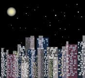 Night city. Vector graphic image with night city with lighting windows, moon and stars Stock Photography