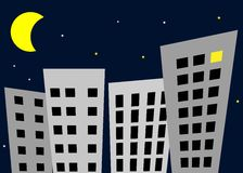 Night in the city -. Vector illustration of night city Royalty Free Stock Photo