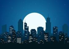Night city vector illustration Stock Photos